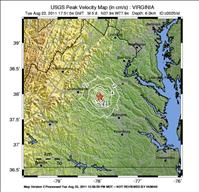 USGS Shake Map of Virignia Earthquake August 23, 2011