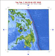 Philippines Recent Earthquake Activity 02/07/12 - USGS