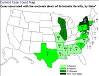 CDC Map of Current Salmonella Infection Outbreak - CDC.gov