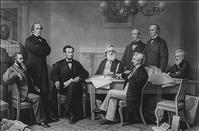 The first reading of the Emancipation Proclamation before the cabinet / painted by F.B. Carpenter ; engraved by A.H. Ritchie. Ritchie, Alexander Hay, 1822-1895, engraver. c1866 credit: Loc.gov